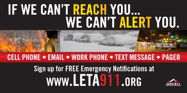 Leta 911 Banner - Click to Subscribe to Emergency Notifications